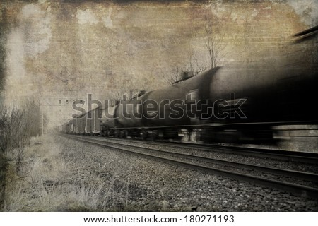 Vintage effect applied to fast moving freight train.