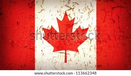 Vintage effect Canadian flag. - stock photo