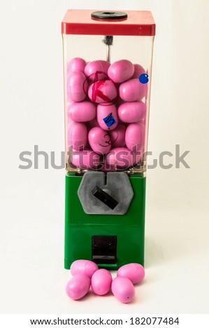 Vintage Eggs Slot Machine on White Background - stock photo