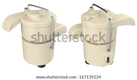 Vintage electric centrifugal juicer on white background. 3D image  - stock photo