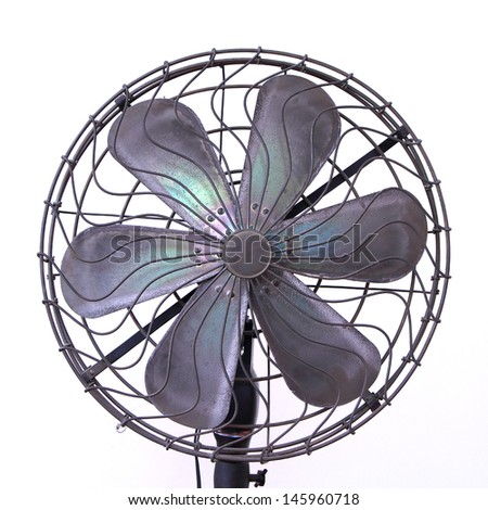 vintage electric fan on white background  - stock photo