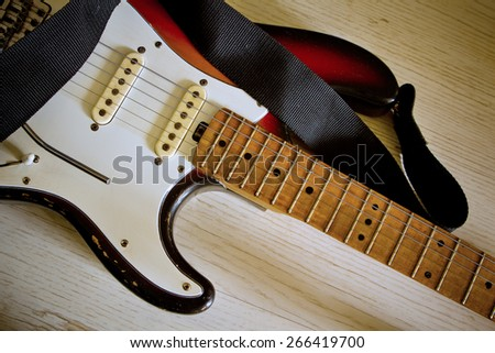 vintage electric guitar - stock photo