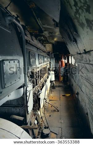 Vintage Electric Locomotive Interior - stock photo