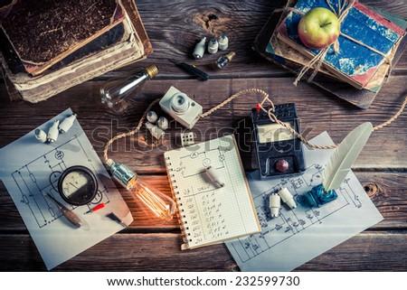 Vintage electrical Laboratory School - stock photo