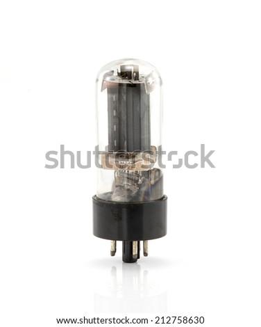 Vintage electron tube  isolate on white ,retro technology - stock photo