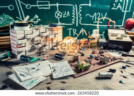 Vintage electronics components in laboratory - stock photo