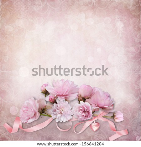 Vintage elegance background with  roses  - stock photo