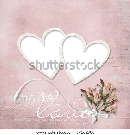Vintage elegant frame with rose - stock photo