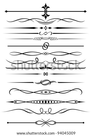 Vintage elements and borders set for ornate and decoration. Vector version also available in gallery - stock photo
