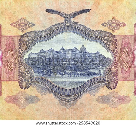 Vintage elements of old paper banknotes Magyar, 100 pengo 1930 - stock photo