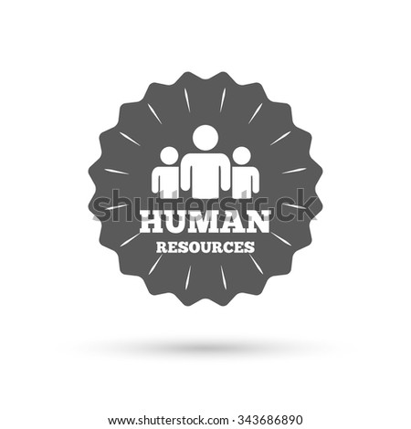 Vintage emblem medal. Human resources sign icon. HR symbol. Workforce of business organization. Group of people. Classic flat icon.  - stock photo