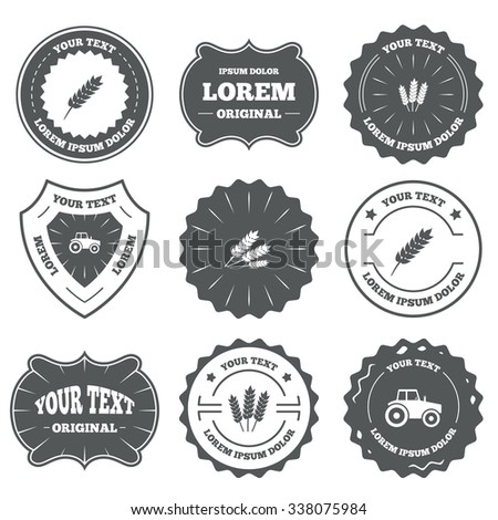 Vintage emblems, labels. Agricultural icons. Wheat corn or Gluten free signs symbols. Tractor machinery. Design elements.  - stock photo