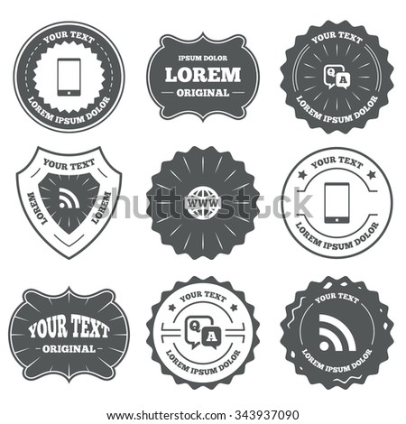 Vintage emblems, labels. Question answer icon. Smartphone and Q&A chat speech bubble symbols. RSS feed and internet globe signs. Communication Design elements.  - stock photo
