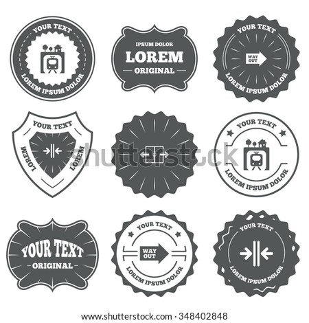 Vintage emblems, labels. Underground metro train icon. Automatic door symbol. Way out arrow sign. Design elements.  - stock photo