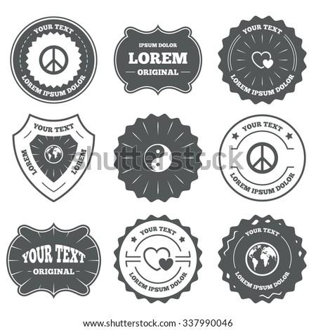 Vintage Emblems Labels World Globe Icon Stock Illustration 337990046