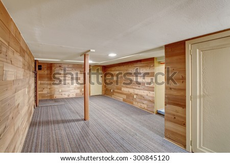Vintage empty basement room with carpet. - stock photo