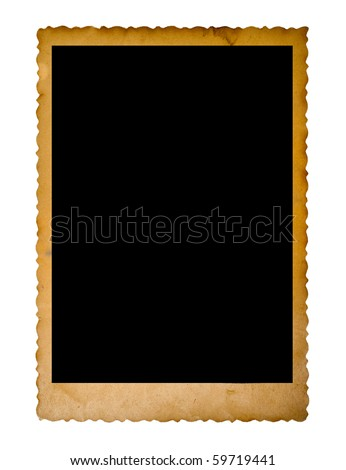 vintage empty photo frame isolated on white - stock photo