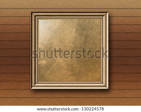 Vintage empty photo frame on wooden wall background.