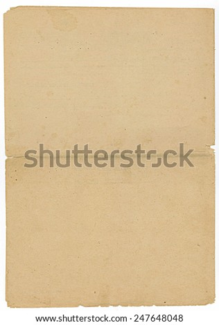 Vintage empty sheet with a fold in the middle - stock photo
