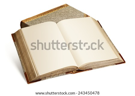 Vintage encyclopedia with blank pages on top of second book  isolated on white background - stock photo