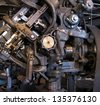 Vintage engineering technology, old factory machine detail - stock photo