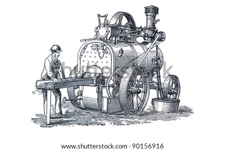 "Vintage engraving depicts a agricultural machinery. This engraving was published in a ""Agricultural machinery. Atlas"" edited by K.K.Veber in 1897, it is now in the public domain."