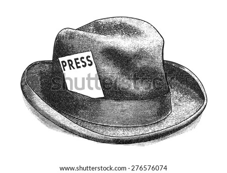 Vintage engraving styled digital illustration of a fedora hat with a press card.