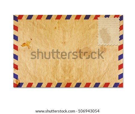 vintage envelop with blank stamp - stock photo