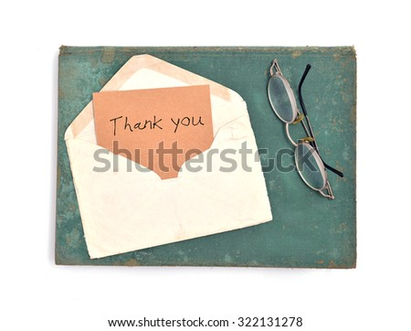 "vintage envelope and card ""Thank You"" - stock photo"
