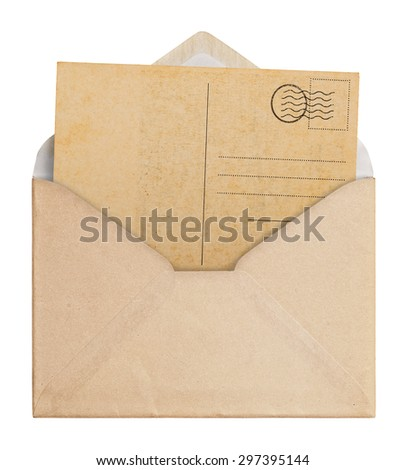 Vintage envelope and postcard on white background, clipping path.