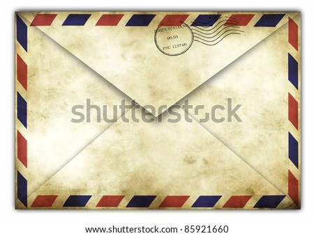Vintage envelope back side with italiane stamps - stock photo