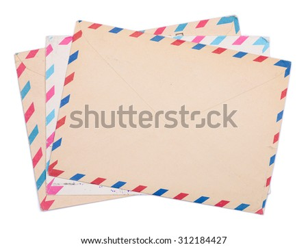 Vintage envelopes stack isolated on white