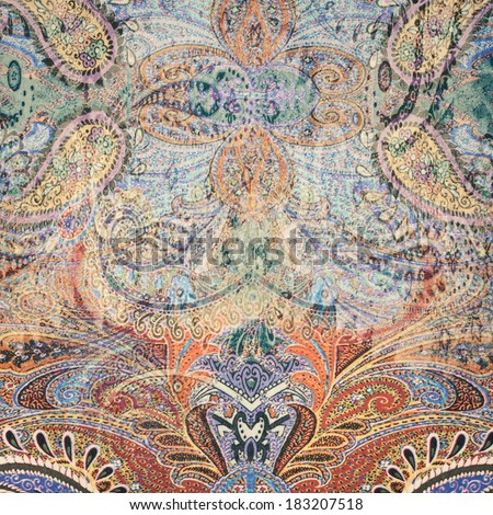 Vintage faded paisley fabric texture/background - stock photo
