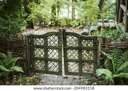 Vintage farm gate - stock photo