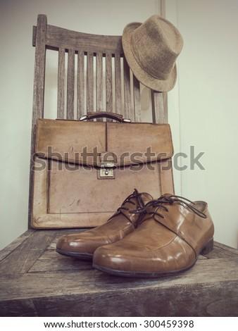 Vintage fashion bag , shoes ,hat , accessories( Vintage tone color ) - stock photo