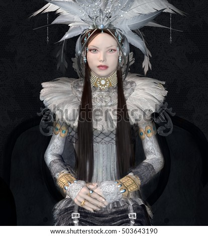 Vintage fashion girl with jewels and feathers - 3D and digital painted illustration