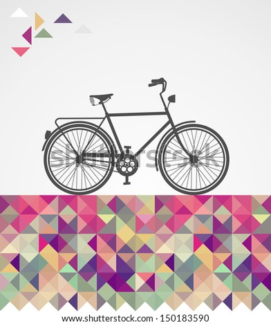 Vintage fashion hipsters bike over triangles illustration. - stock photo
