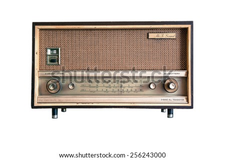 Vintage fashioned radio isolated on white background - stock photo
