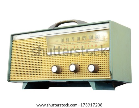 Vintage fashioned radio isolated over white background, clipping path - stock photo