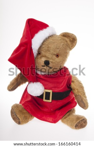vintage Father Christmas teddy bear isolated on white background