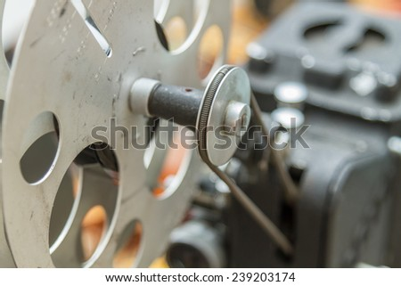Vintage film editing and cutting machine - stock photo