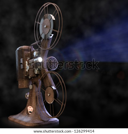 Vintage film projector with light. - stock photo