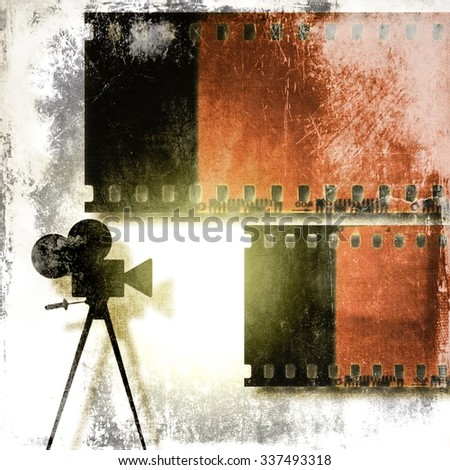 Vintage film strip background and old cine camera - stock photo