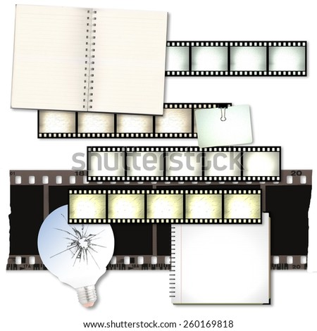 Vintage film strip background with notebooks and cracked light bulb - stock photo