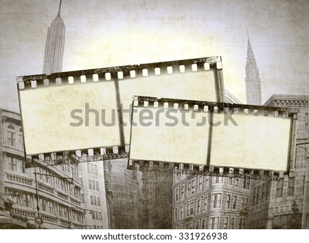Vintage film strip frame on architectural background - stock photo