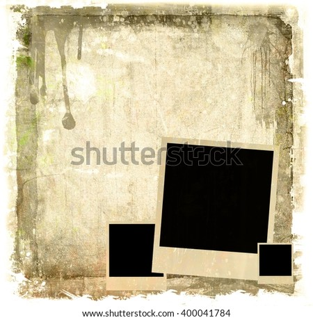 Vintage film strip frame with instant photo - stock photo