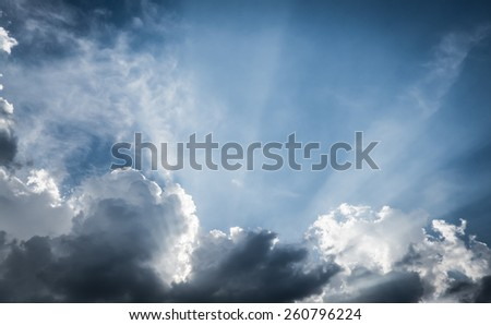 vintage filter:Nice blue sky with sun beam with cloudy,Hope ray. - stock photo