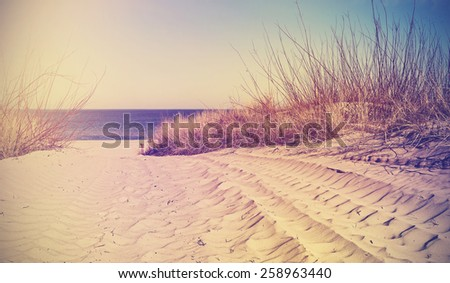 Vintage filtered beach, nature background or banner. - stock photo