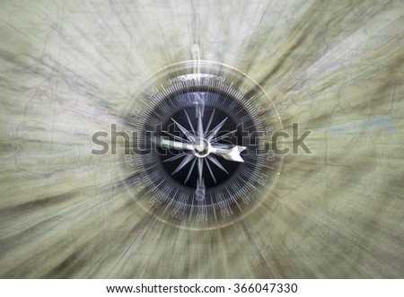 Vintage filtered of compass with map/the time-tested Navigator/compass on the map - stock photo
