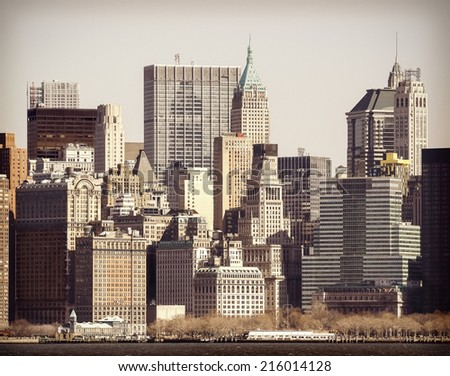 Vintage filtered picture of Manhattan over Hudson River, New York City. - stock photo